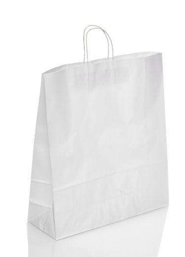 Tragetasche Papier weiß Papierkordel 22+9x23cm