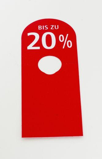 Hänger Ständer BIS ZU 20% 8,5x23cm rot/weiß