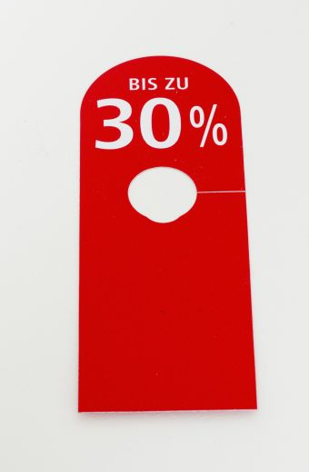 Hänger Ständer BIS ZU 30% 8,5x23cm rot/weiß