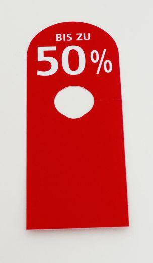 Hänger Ständer BIS ZU 50% 8,5x23cm rot/weiß