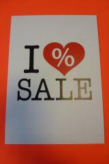 Plakat Karton DIN A4 I love SALE weiß/schwarz/rot