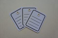 Einzel-Etikett weiß Linien Kunststofföse