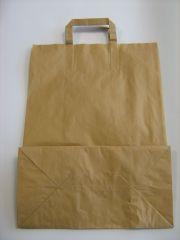 Tragetasche Papier natur Flachhenkel 26+12x35cm