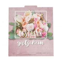 Gutschein Falt rosa mit Blumenstrauß bunt