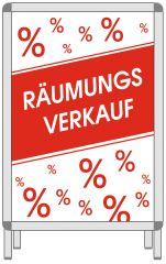 Rahmenplakat DIN A1 Räumungsverkauf %%  rot/weiß Papier