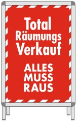 Rahmenplakat DIN A1 Total Räumungsverkauf rot/weiß