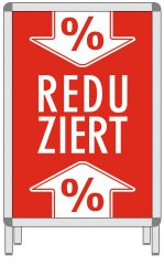 Rahmenplakat DIN A1 Reduziert Pfeil % rot/weiß Papier