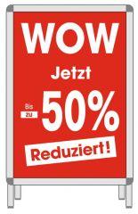 Rahmenplakat DIN A1 WOW Jetzt bis zu 50% rot/weiß Papier